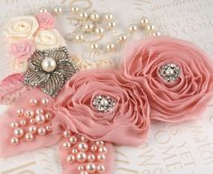 Bridal Statement Bib Necklace in Blush Pink and Cream ♥ by SolBijou