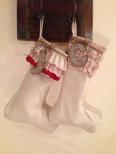 Rustic Christmas stockings with burlap or canvas