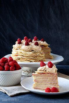 Biscoff and Raspberry Crepe Cake