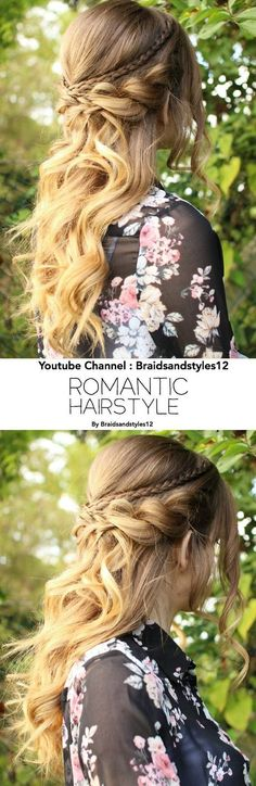 Beautiful, romantic half up half down hairstyle with Curls.