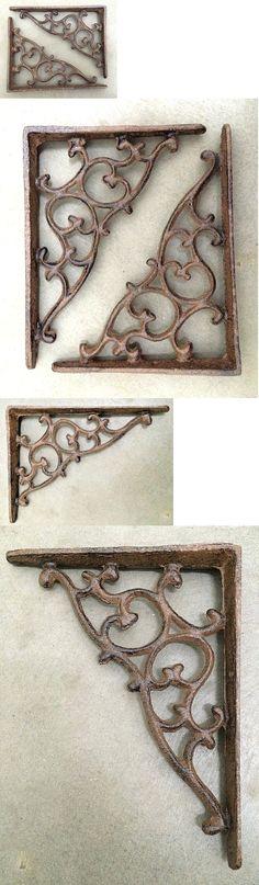 SET OF 2 SPIDERWEB CAST IRON SHELF BRACE BRACKETS rustic black finish gothic