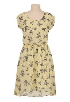 High-low hem bird print chiffon dress for Maurice's.