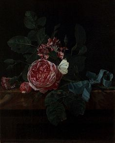 Maria van Oosterwijk 'Still Life with Flowers' 17th century by Plum leaves, via Flickr