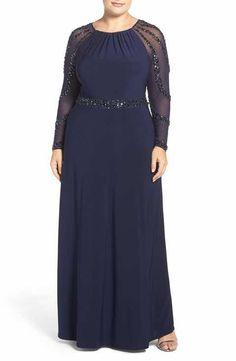 Main Image - Marina Beaded A-Line Jersey Gown (Plus Size) Vestidos Plus Size, Plus Size Gowns, Evening Dresses Plus Size, Formal Dresses For Women, Plus Size Maxi Dresses, Plus Size Outfits, Halter Dresses, Party Wear Long Gowns, Gaun Dress