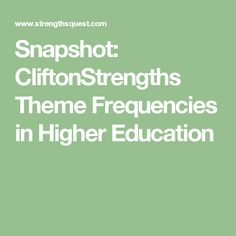 Snapshot: CliftonStrengths Theme Frequencies in Higher Education