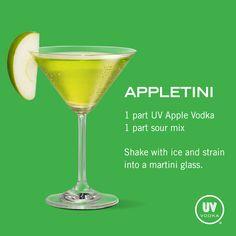 UV Vodka Recipe: Appletini One Appletini please. Easy on the tini ; Fruit Drinks, Bar Drinks, Wine Drinks, Cocktail Drinks, Cocktail Recipes, Alcoholic Drinks, Fruity Cocktails, Vodka Drinks, Beverages