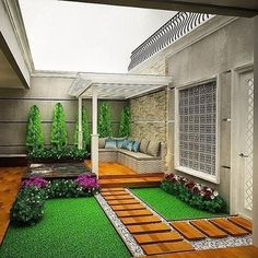 35 Nice Minimalist Backyard Landscaping Design Ideas You Will Love - You have decided that it's high time you did something for your backyard. For many years now, it has been bare, save for a few of your kids' toys and . Small Backyard Gardens, Backyard Garden Design, Small Garden Design, Terrace Garden, Backyard Landscaping, Outdoor Gardens, Outdoor Patio Designs, Minimalist Garden, Backyard Seating