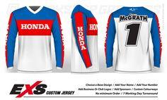 Custom Designed, Sublimated Race Jerseys made in NZ Vintage Motocross, Cool Technology, Football Shirts, Business Logo, Bmx, Order Prints, Honda, Custom Design, Racing