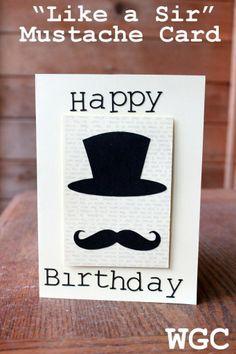 "pinterest mustache cards   Like a Sir"" Mustache Birthday Card   Cards"