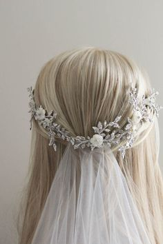 BESPOKE for Tracey_Anais silver bridal headpiece with flower details 9