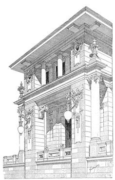 Dessin architecture Birthdays thank you for birthday wishes Detail Architecture, Classic Architecture, Architecture Drawings, Historical Architecture, Building Drawing, Building Sketch, Technical Drawing, Architectural Elements, Art Nouveau