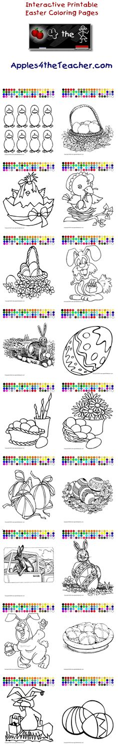Printable interactive Easter coloring pages, Easter coloring pages for kids  http://www.apples4theteacher.com/coloring-pages/easter/