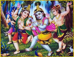 Krishna and His friends imitate the animals of the forest as part of their play