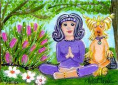 ACEO Whimsical Folk Art- Yoga Chinese Crested  - OOAK by Robin Jayne #OutsiderArt