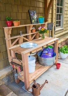 How to Make a Gardener's Potting Bench Learn how to build a custom work table for your gardening and outdoor chores. We outfitted this bench with a dry sink, tool storage and plenty of shelving. Potting Bench Plans, Potting Tables, Potting Sheds, Potting Bench With Sink, Outdoor Potting Bench, Garden Bench Plans, Potting Soil, Garden Projects, Diy Projects