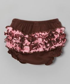 Take a look at this Brown & Light Pink Ruffle Diaper Cover by Zootie B. Little on #zulily today!