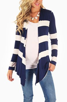 Pink blush maternity-navy and white striped cardigan