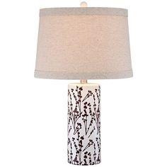 Clare Twigs Bloom White Column Ceramic Table Lamp