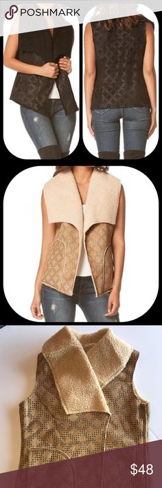 Just Arrived Fall Vest Just in time for fall, Faux suede open vest with diamond design a Sherpa lining and side pockets.  Available in black and a light tan. Jackets & Coats Vests