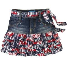 Children's Place Americana Clothing for Kid's of July Celebration Denim Fashion, Skirt Fashion, Fashion Outfits, Sewing Kids Clothes, Diy Clothes, Shopping Outfits, African Dresses For Kids, Cute Little Girl Dresses, Denim Ideas