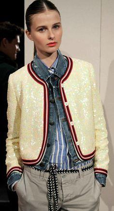 Shirt, denim + sequin jacket