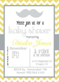 Yellow Chevron Baby Shower Invite: Custom Order/Free Thank You Card Included!