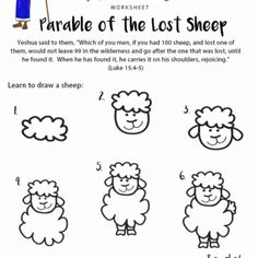 Enjoy our free Bible worksheet: Parable of the Lost Sheep. Learn how to draw a sheep. Fun for kids to print and learn more about the Bible. Bible Story Crafts, Bible Stories For Kids, Bible School Crafts, Bible Study For Kids, Bible Lessons For Kids, Sunday School Activities, Church Activities, Bible Activities, Sunday School Lessons