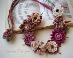 Collar Flores crochet, Boho ganchillo gargantilla, collar Multicolor, ganchillo…