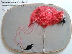 """Tus alas baten tus alas II Hilo de algodón, lanas naturales sobre pana Muestra """"Nativa"""" de Puertas Abiertas  2013"""