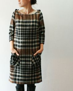 Plaid \ Tartan check | Tunic dress | Brown / Green | Autumn Winter