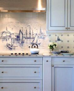 Nautical Tiles Kitchen Backsplash: http://www.completely-coastal.com/2015/11/kitchen-backsplash-ideas-beach-murals-nautical-ocean-blue-tiles.html