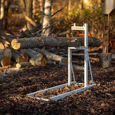 """Designed by a Swedish wood cutter, the Smart Log Holder sawhorse has a patented """"claw"""" ."""