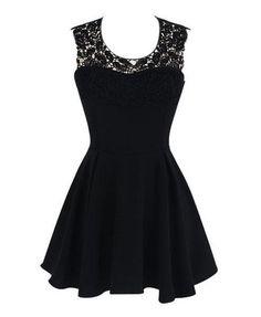 Lace+Embroidered+Sleeveless+Sheath+A-Line+Mini+Skater+Dress