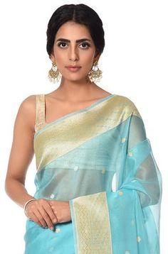 Oceon blue pure kora saree with kadhwa weave