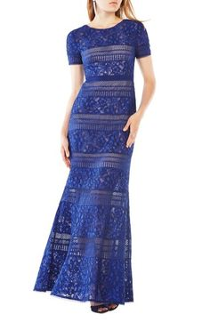BCBGMAXAZRIA Lace Mermaid Gown available at #Nordstrom