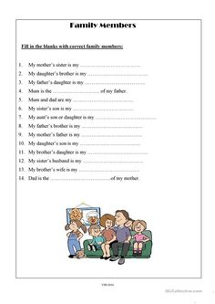 Well, here is a new worksheet about family vocabulary. It's very easy, simple and useful inside and outside the classroom context. English Worksheets For Kids, English Lessons For Kids, English Activities, Social Studies Worksheets, Vocabulary Worksheets, English Vocabulary, Family Worksheet, Basic Grammar, Teaching Jobs