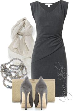 """""""Holiday Party"""" Gray // by orysa ❤ liked on Polyvore"""