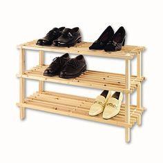XL Schuhregal Natur Holz - 3 Böden Holz Schuhständer Schuh Regal Holzregal…