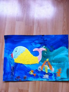 A whale and other sea creatures by Eli, 6 #animal #underthesea #kidart