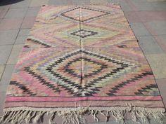 """$745 VINTAGE Turkish multi Color Antique Kilim Rug,Oriental Handmade Wool Old Kilim Rug, 64,9"""" X 90,5"""""""