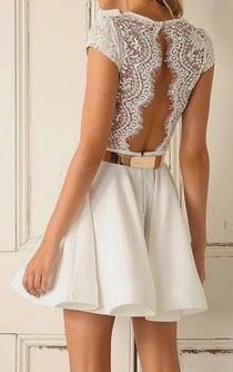 Sexy lace backless short sleeves dress