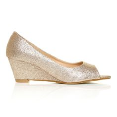 Colour for the bridesmaid shoes??? Different styles but alter all to be the same glitter colour? Honey Champagne Glitter Wedge MID Heel Peep TOE Shoes | eBay