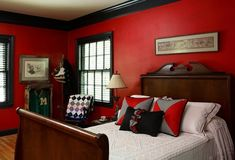 Red brick interior design red wall living room red wall decoration red walls bedroom bedroom with . Red Bedroom Walls, Red Bedroom Design, Red Bedroom Decor, Red Walls, Bedroom Ideas, Bedroom Designs, Red Black Bedrooms, Red Rooms, Bedroom Black
