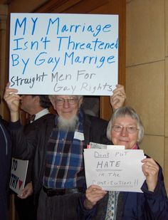 """My marriage isn't threatened by gay marriage."""