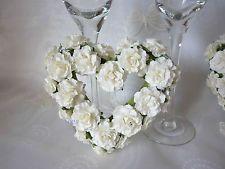 2 x HANGING PAPER ROSE CREAM HEART WEDDING VENUE PEW DECORATION SHABBY CHIC