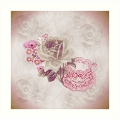 #VintagePink #Teacup&Flowers #SmallArtPrint by #MoonDreamsMusic #DigitalArt #ShabbyChicArt #SweetlyScrapped