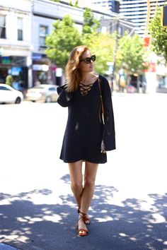 Black criss cross lace up dress