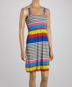 Take+a+look+at+the+Light+Pink+&+Blue+Stripe+Smocked+Sleeveless+Dress+on+#zulily+today!