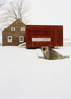 Ten Broeck Cottage in Columbia County, New York, designed by Messana O'Rorke. An eighteenth-century Dutch house with a modern extension.