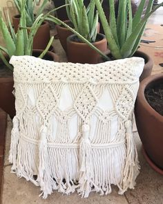 Making these pillows was such a challenge,! I gave one of this pair away for a giveaway and now have this lonely one left , I feel like I… Diy Macrame Earrings, Macrame Purse, Macrame Plant Hangers, Macrame Art, Macrame Knots, Boho Cushions, Crochet Pillow Pattern, Homemade Home Decor, Crochet Tablecloth